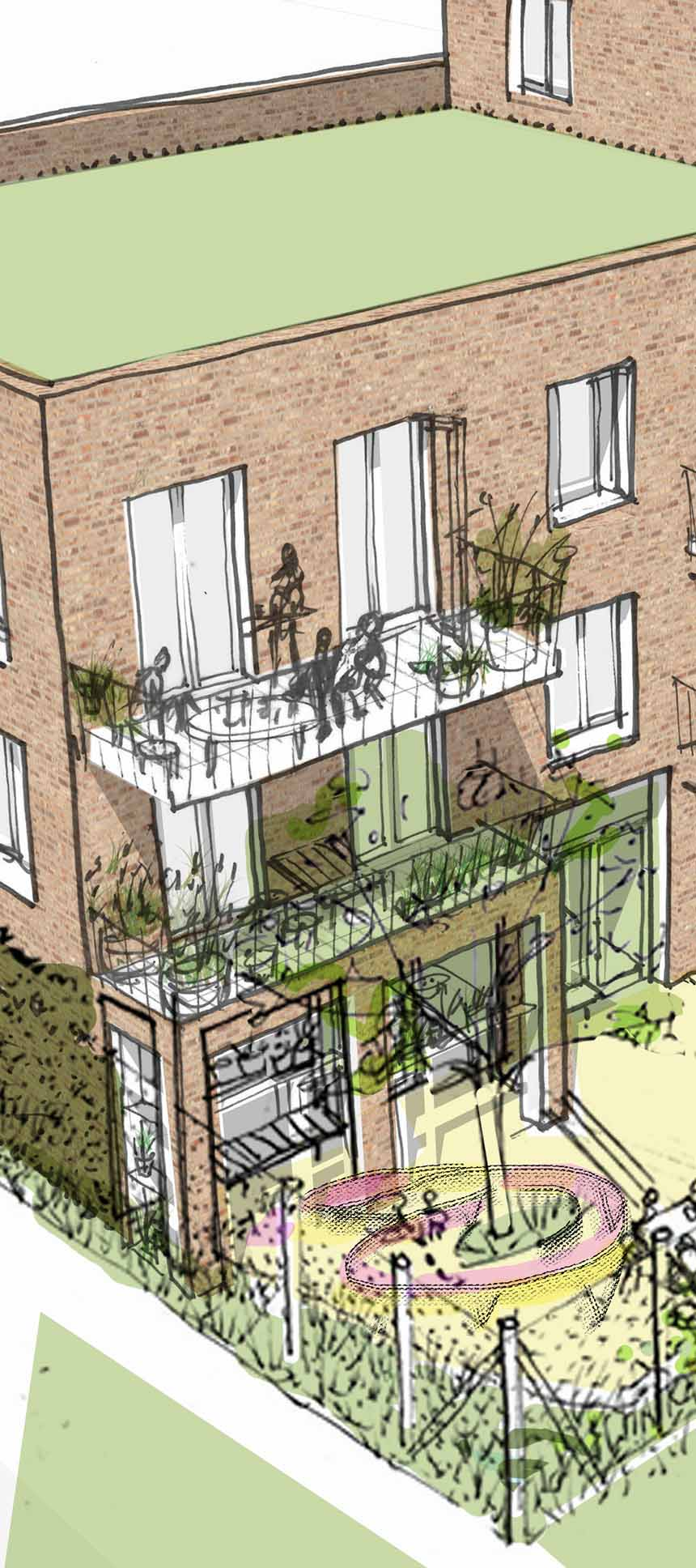 Pedro Street Ash Sakula sketch detail of the garden elevation
