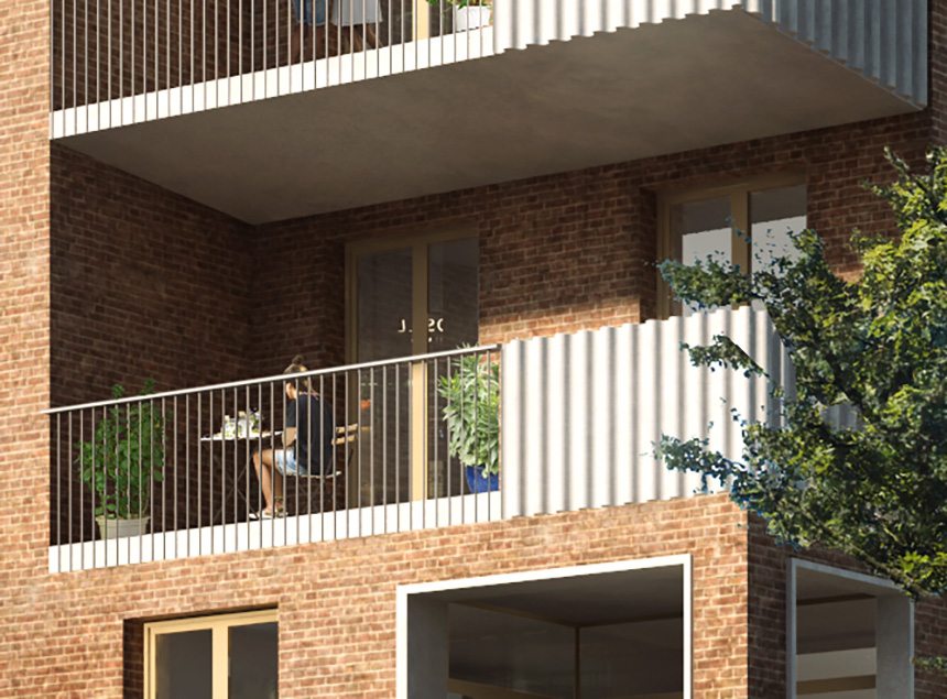 Pedro Street Ash Sakula aluminium terrace render