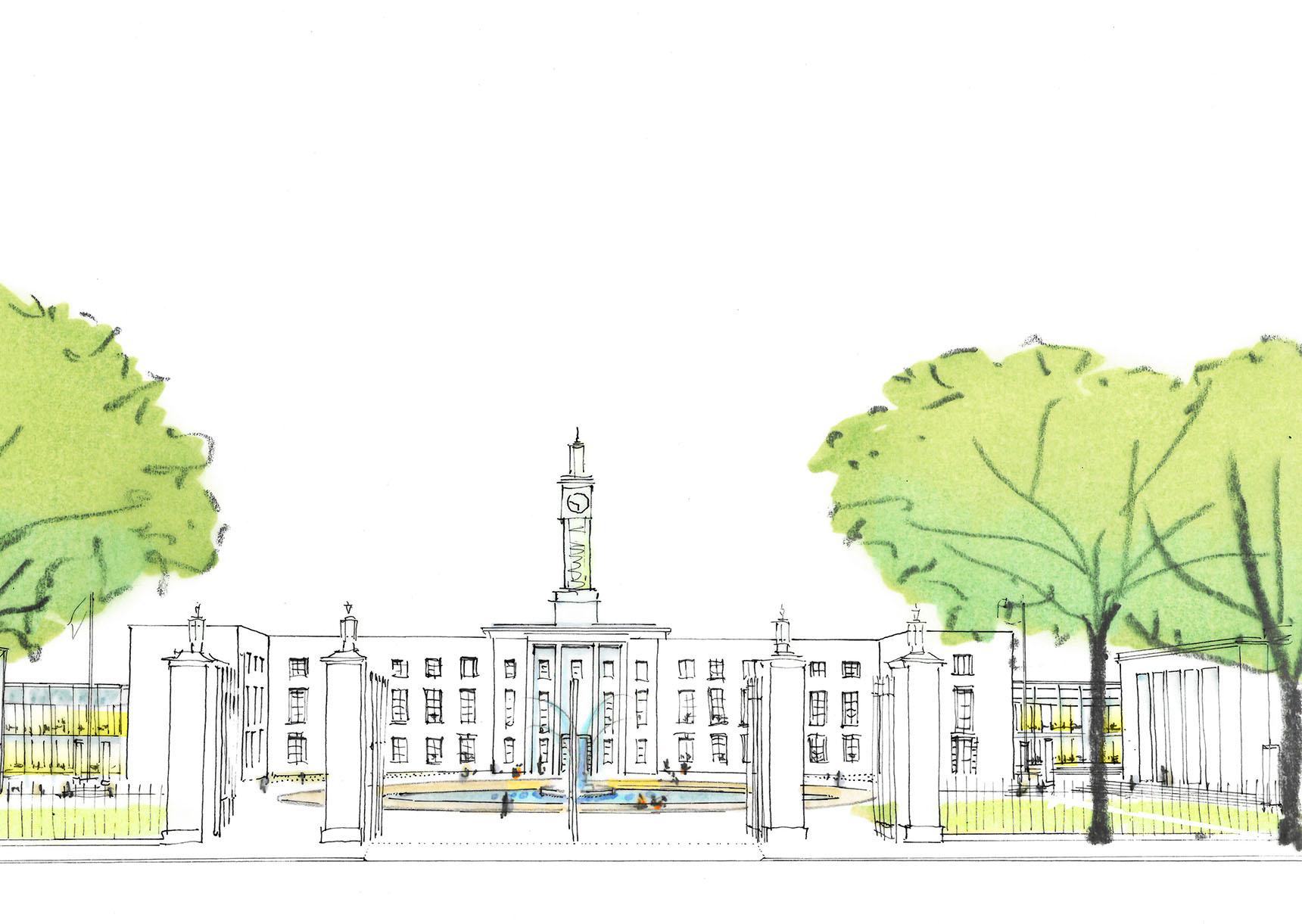 Ash Sakula Waltham Forest sketch study town hall