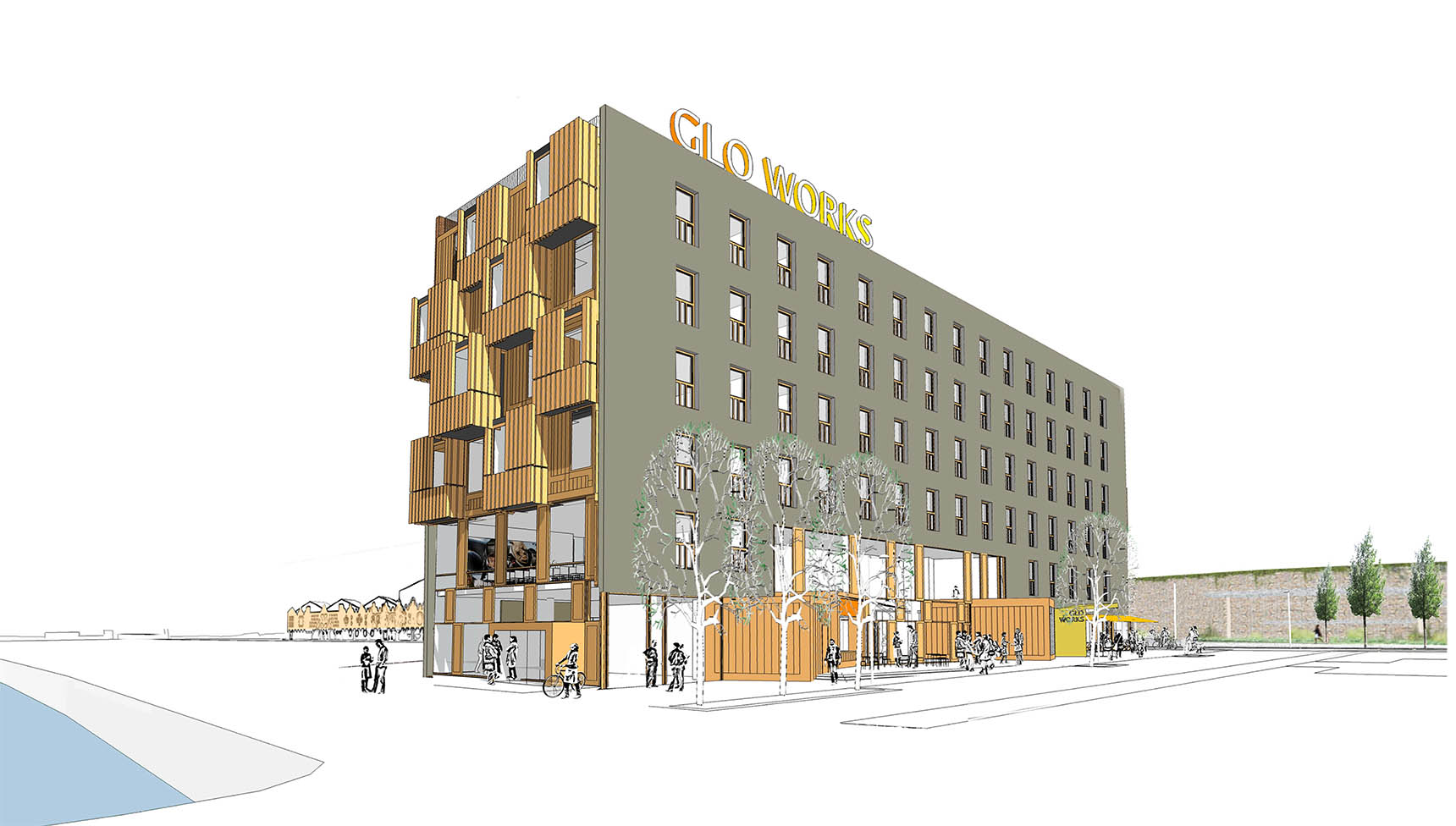 Sketchup view of Gloworks by Ash Sakula Architects
