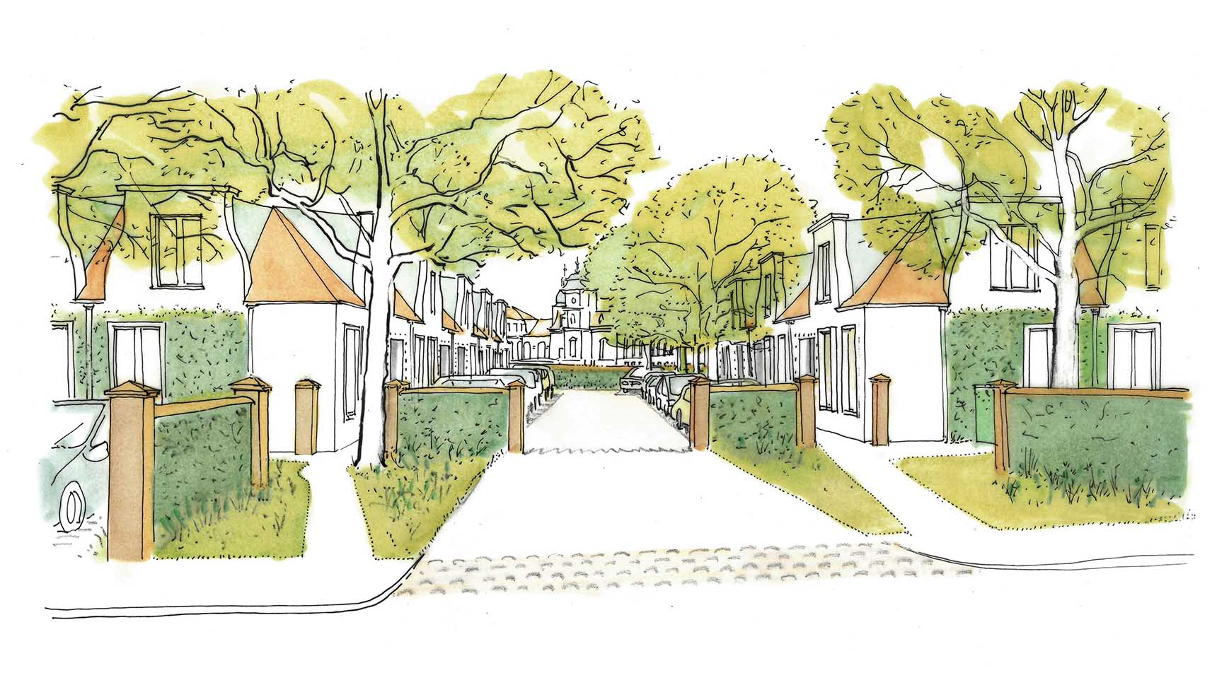 Ash Sakula concept sketch showing low mews terraces Ash Sakula Slovakian Masterplan Community