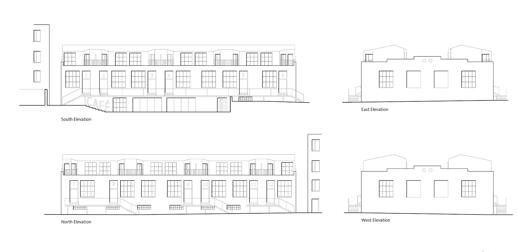 Elevation drawings of Residential development in Bernolákovo Slovakia by Ash Sakula Architects
