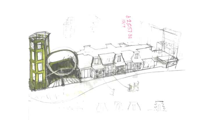 Early concept design sketch for residential development in Bernolákovo Slovakia by Ash Sakula Architects
