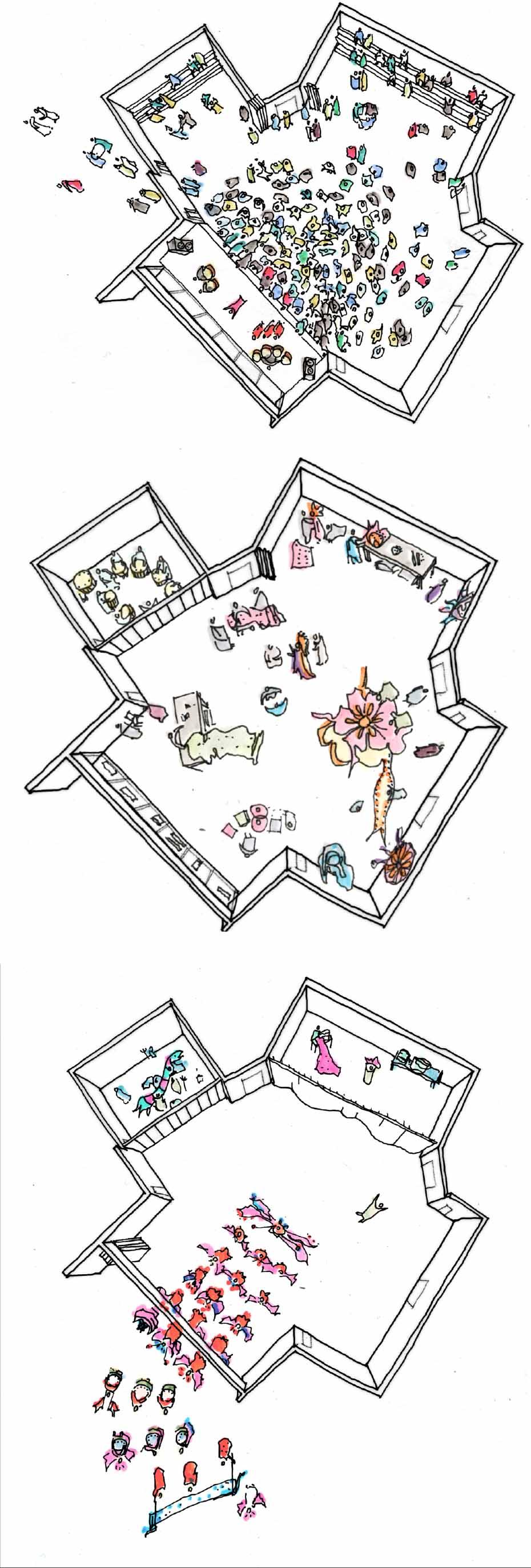 Mas Camp concept sketch Ash Sakula Carnival Arts Centre