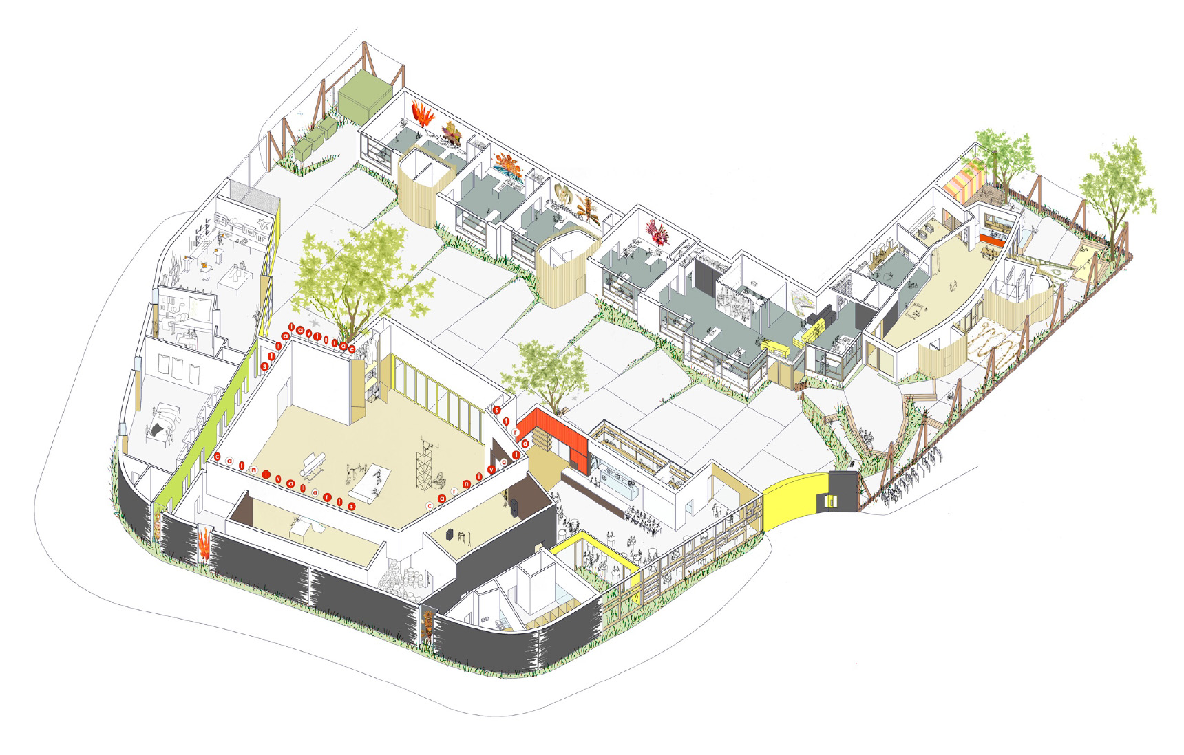 Cutaway view of Carnival Arts Centre by Ash Sakula Architects