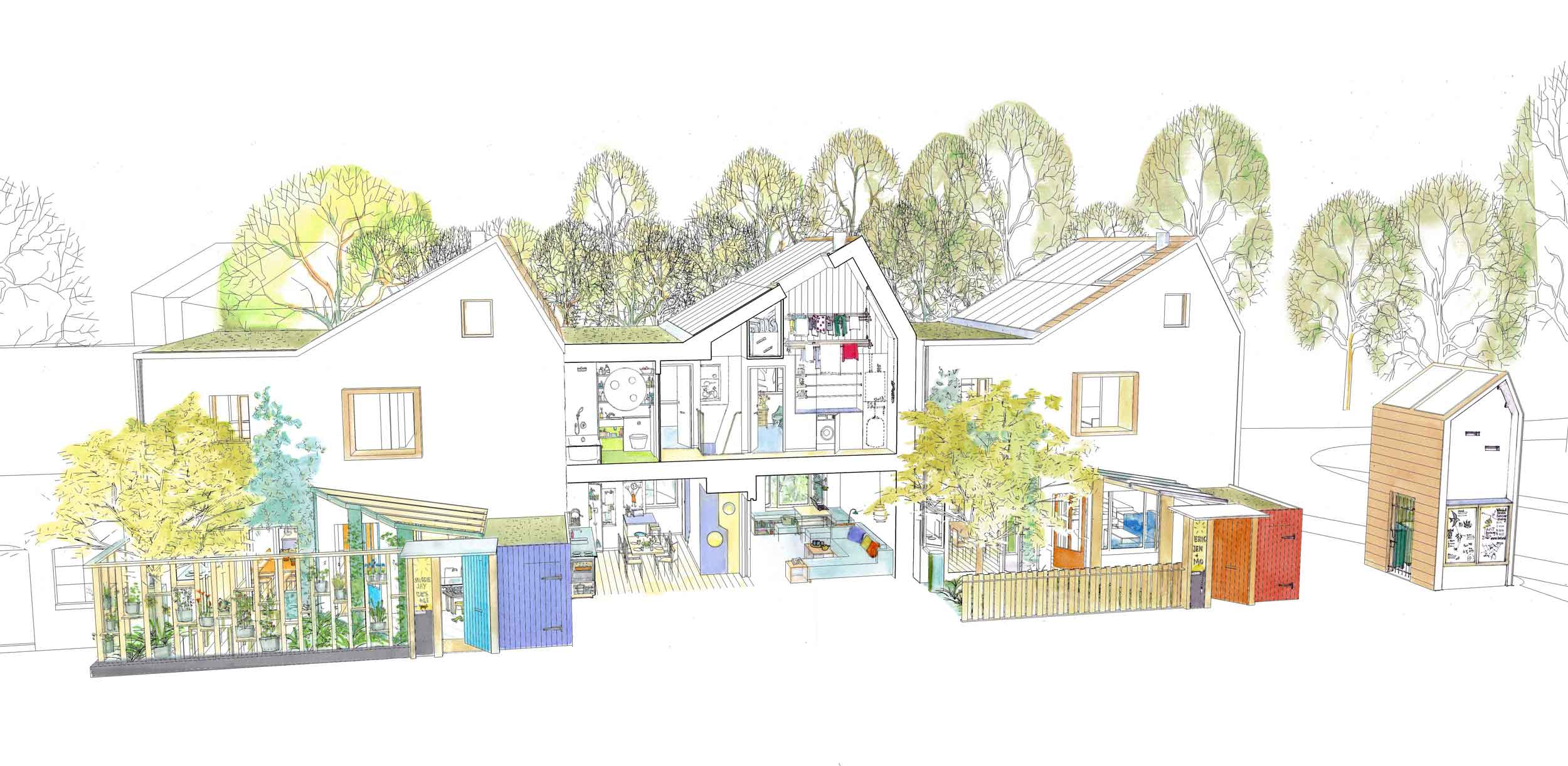 Exhibition Mews Ash Sakula three houses concept sketch