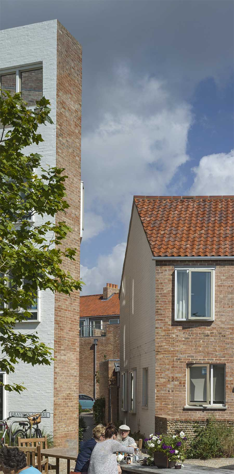 Tibby's Triangle housing Ash Sakula Architects Southwold window view from Drayman Square