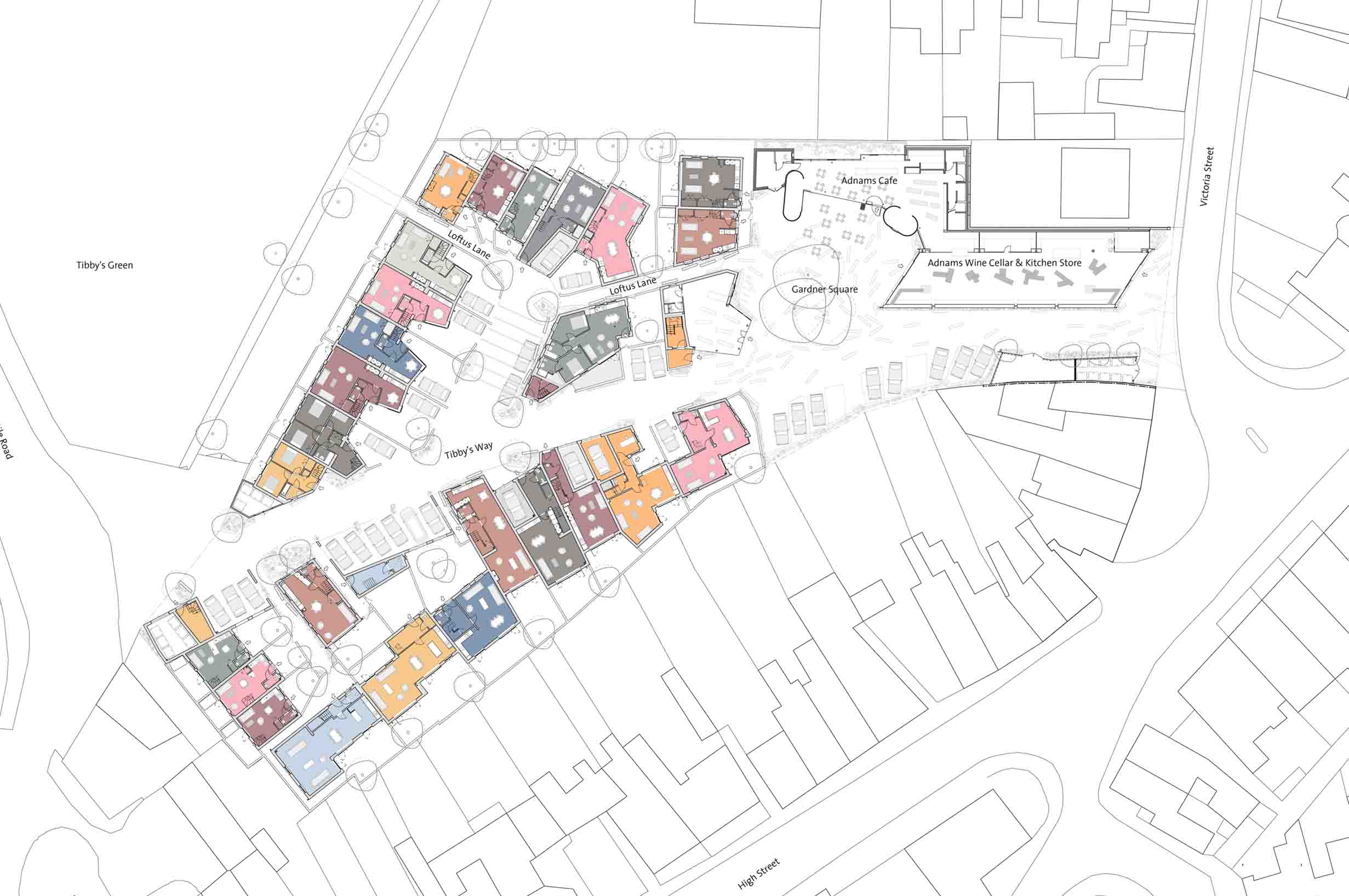 Tibby's Triangle housing Ash Sakula Architects Southwold sketch aerial view