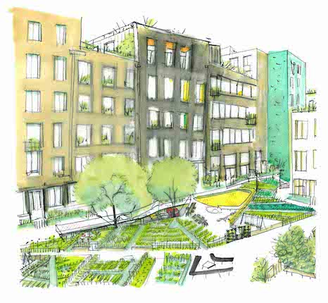 Wickside Hackney London Housing development Ash Sakula landscape study sketch of residential courtyards