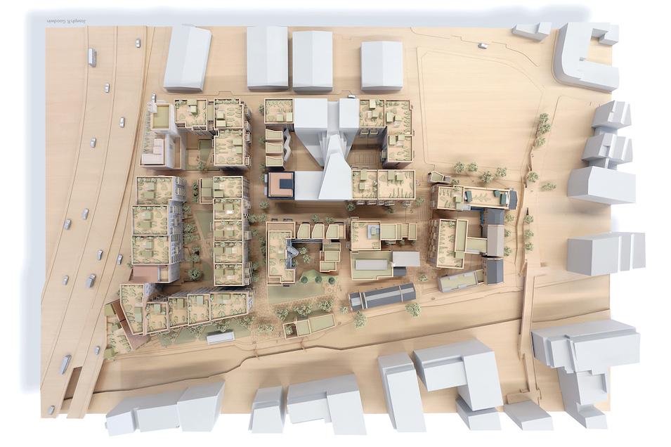 Wickside Hackney London Housing development Ash Sakula view of model from above