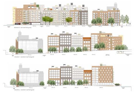 Wickside Hackney London Housing development Ash Sakula composite elevation drawings