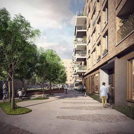 Wickside Hackney London Housing development Ash Sakula render view