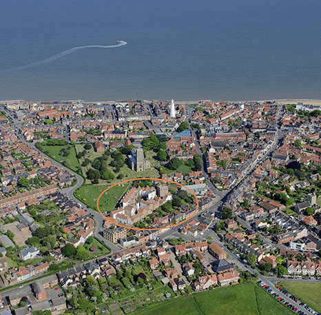 Tibby's Triangle housing Ash Sakula Architects Southwold aerial views