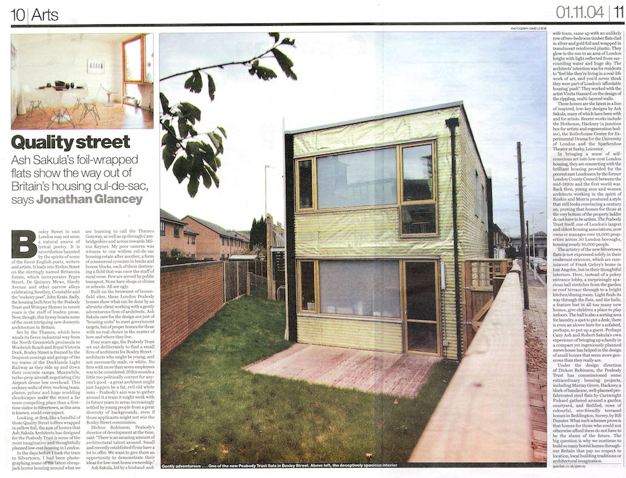 Peabody Housing Ash Sakula Architects guardian article