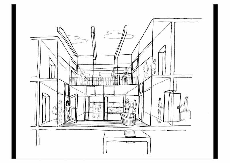 Concept sketch of light funnel and lightwell for LCB Depot by Ash Sakula Architects