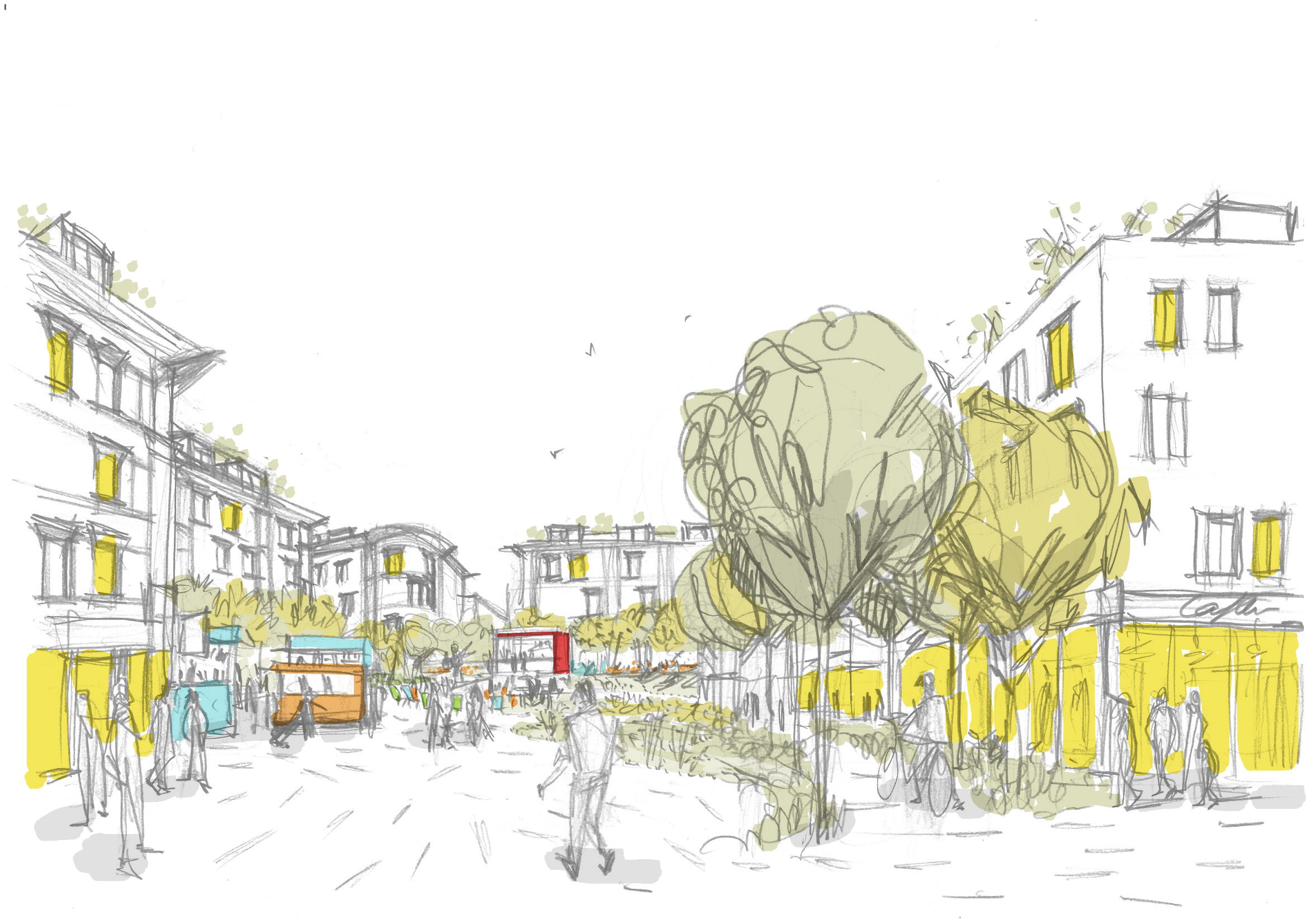 Main square scenography sketch Malacky na mayeri development slovakia