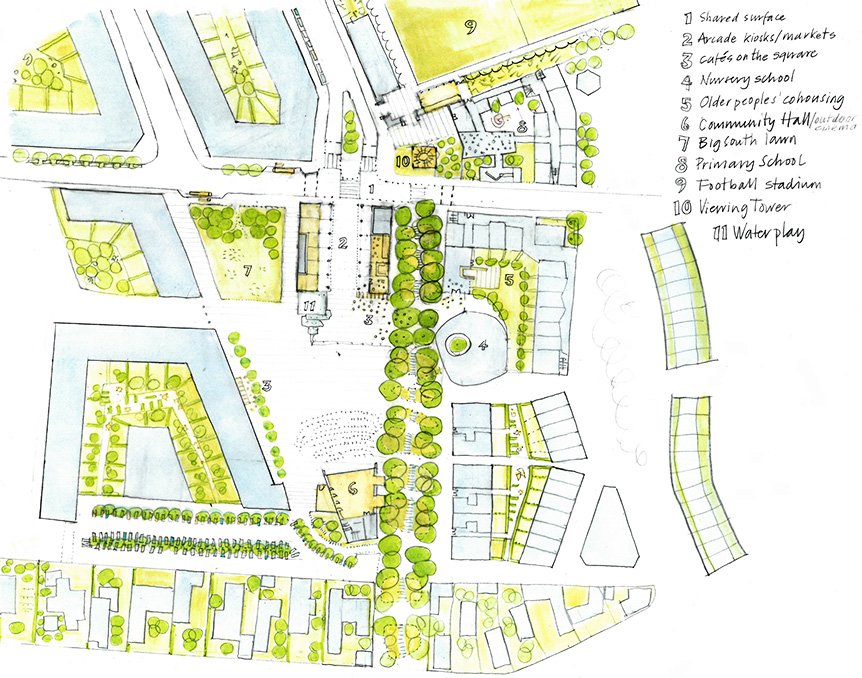 Malacky concept plan of main community square at Malacky na mayeri development slovakia