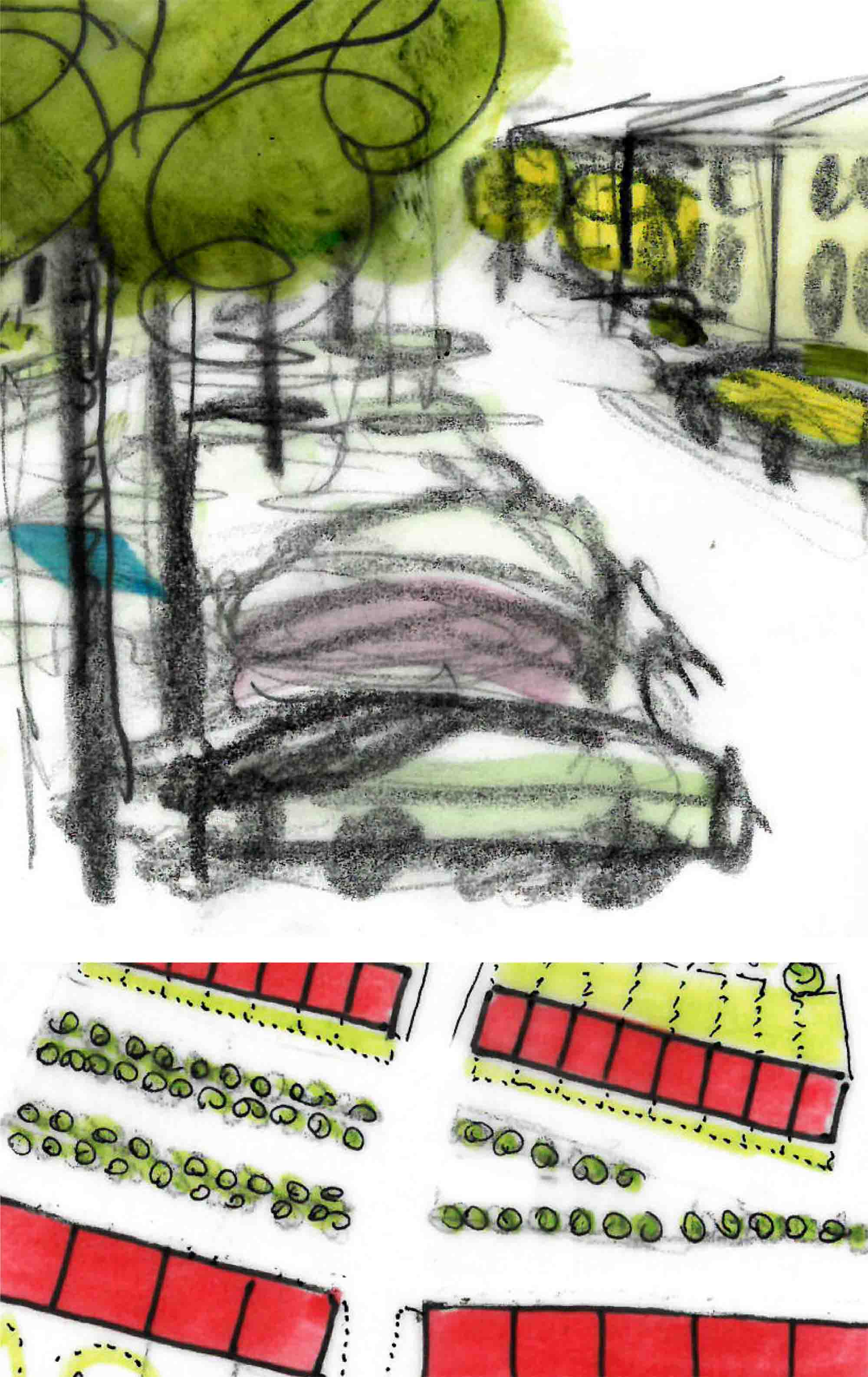 cars park on the streets and under trees concept sketch for na mayeri masterplan development slovakia Ash Sakula Architects
