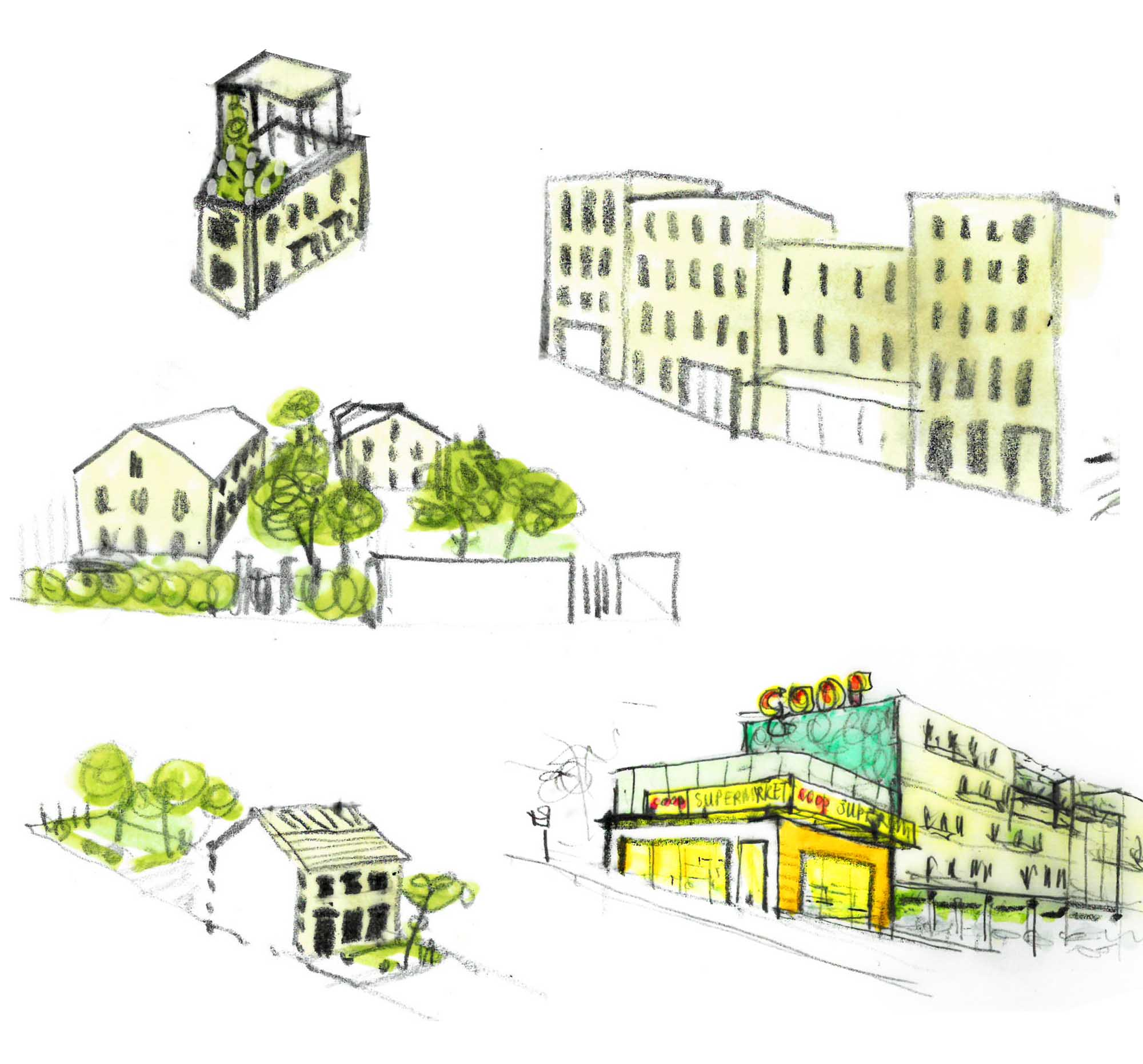 housing typologies concept sketch for na mayeri masterplan development slovakia Ash Sakula Architects