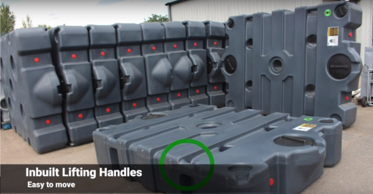 in-built lifting handles on the Tuff Tank plastic effluent tank