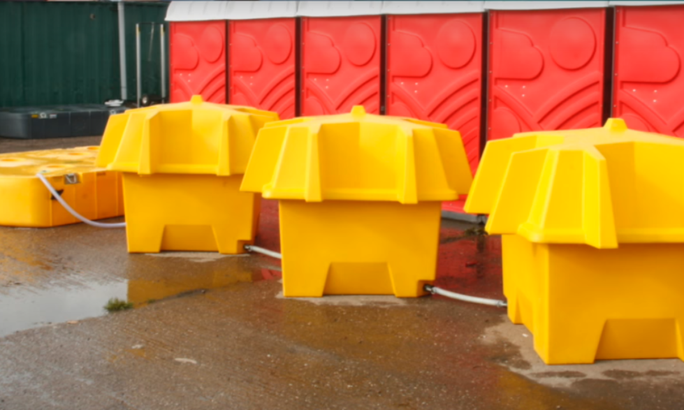 Pee Pods linkeded to a Tuff Tank to provide extra storage capacity at festivals and events
