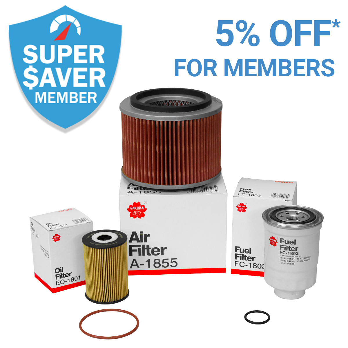 5% Off* Filters For Members