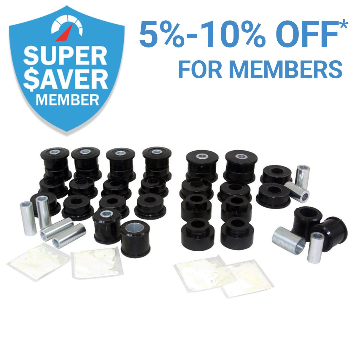 Get 5%-10% Off* Suspension Bushings as a Member