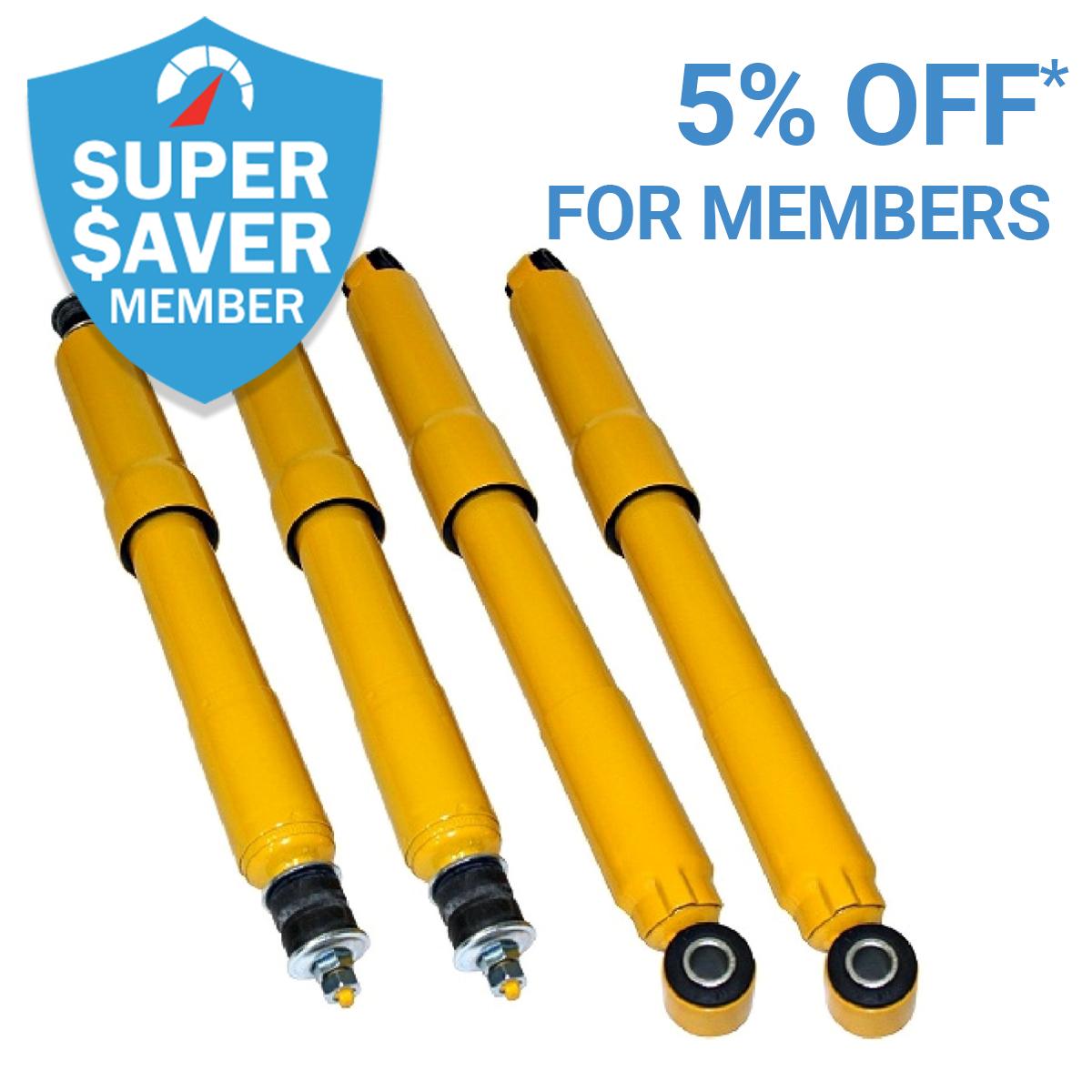 Get 5% Off* Shocks As a Member