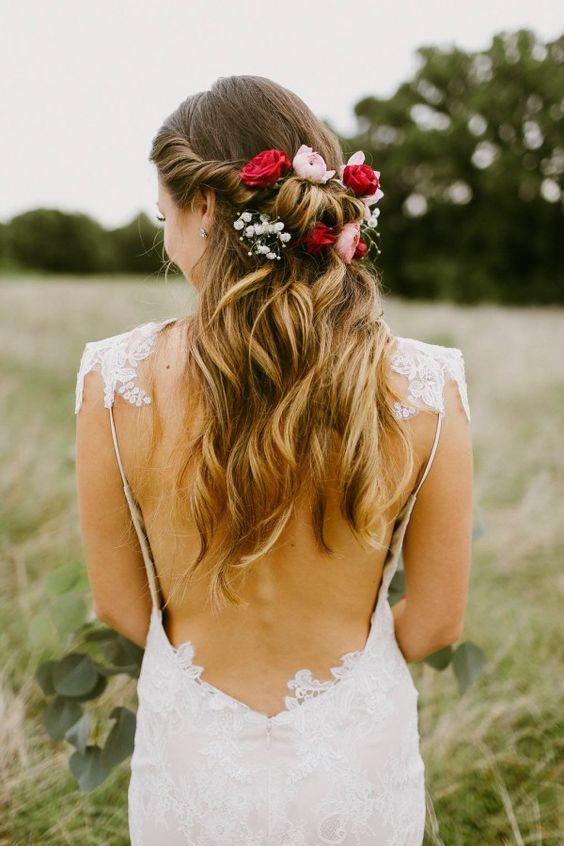 Half updo with curls and flowers - bridal hair