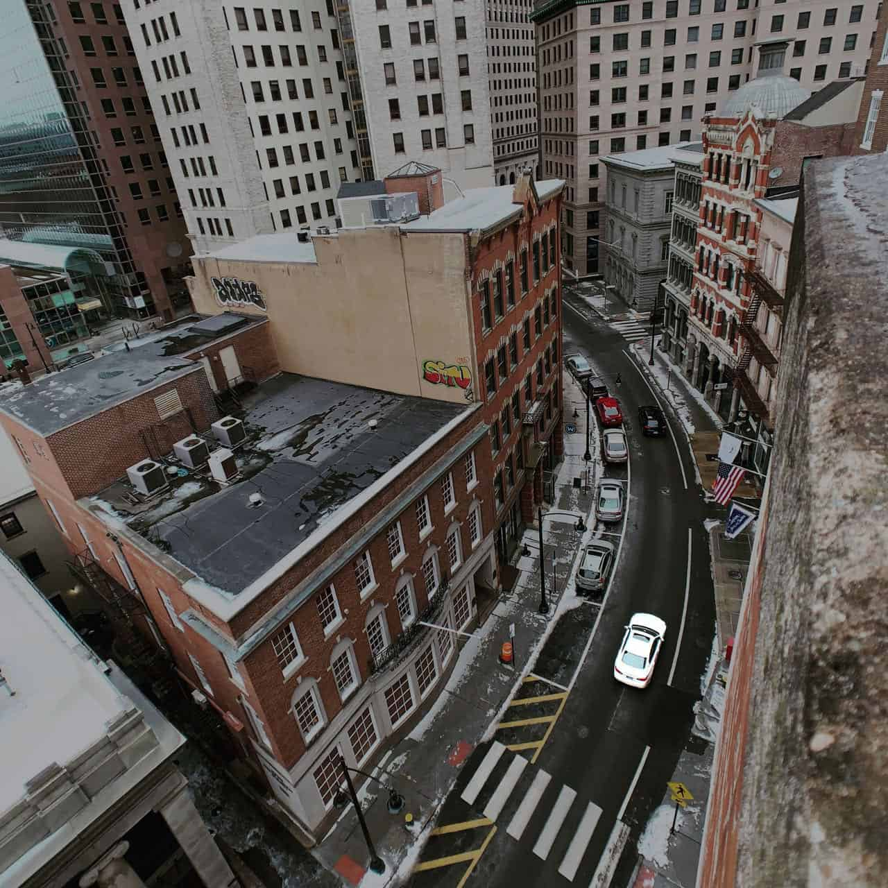 A view of Weybosset Street in Providence taken from the top of a parking garage.