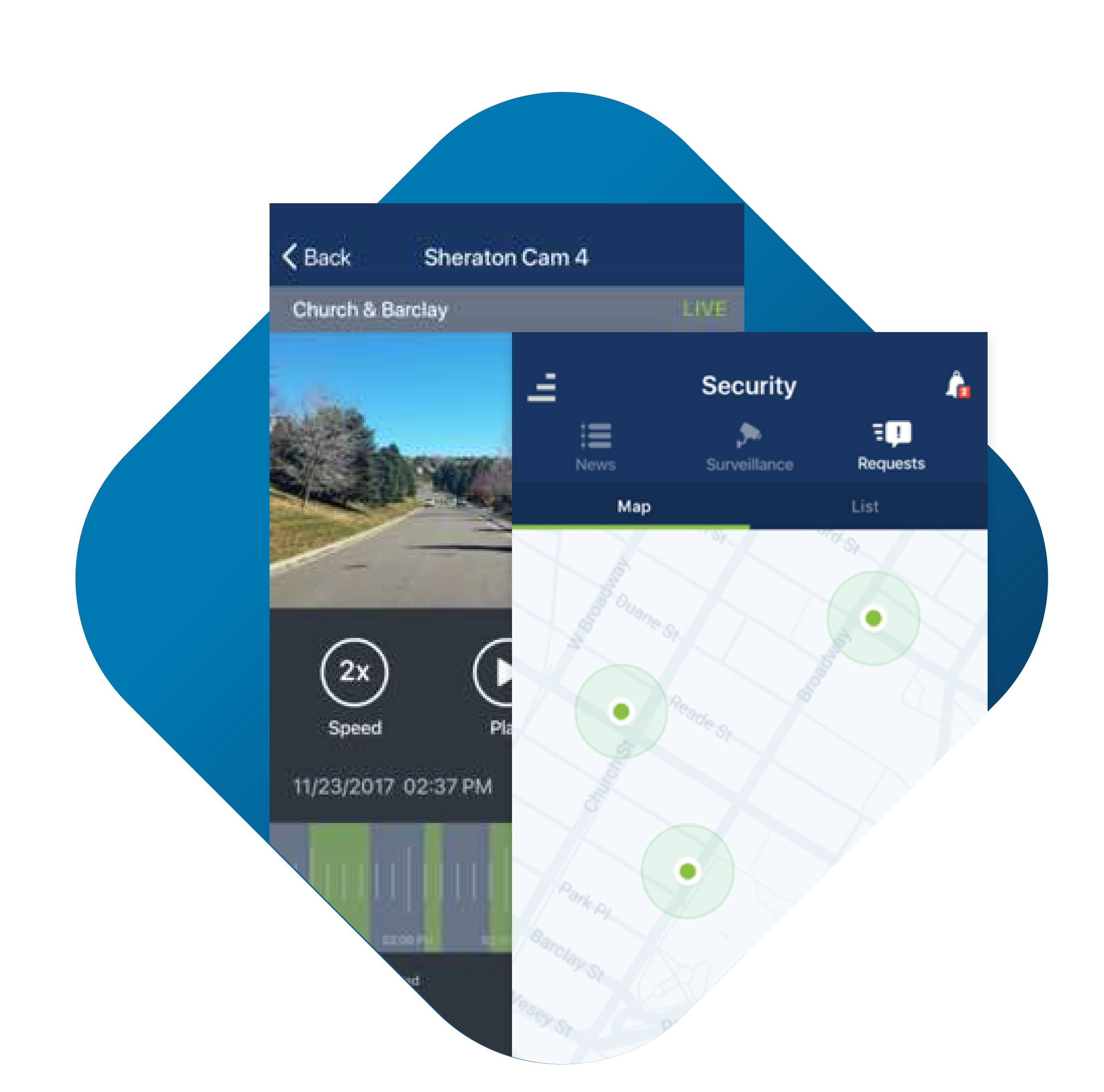 Cellphone Interface - Map and Street View