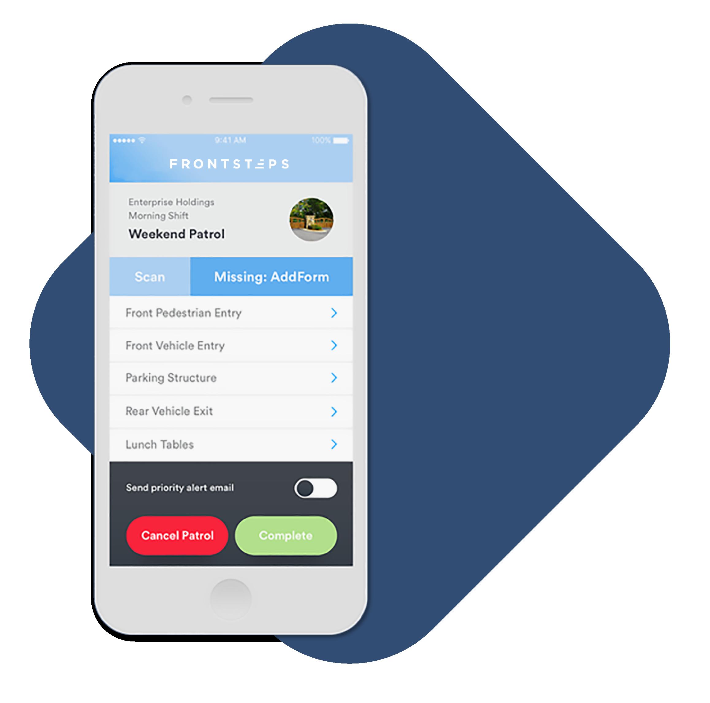 Cellphone Interface - Patrol App Interface