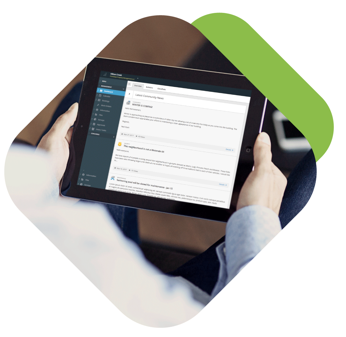 Tablet In-hand - Dashboard Interface