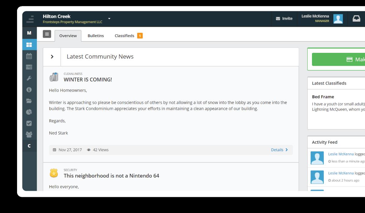 Desktop Interface - Community News Board