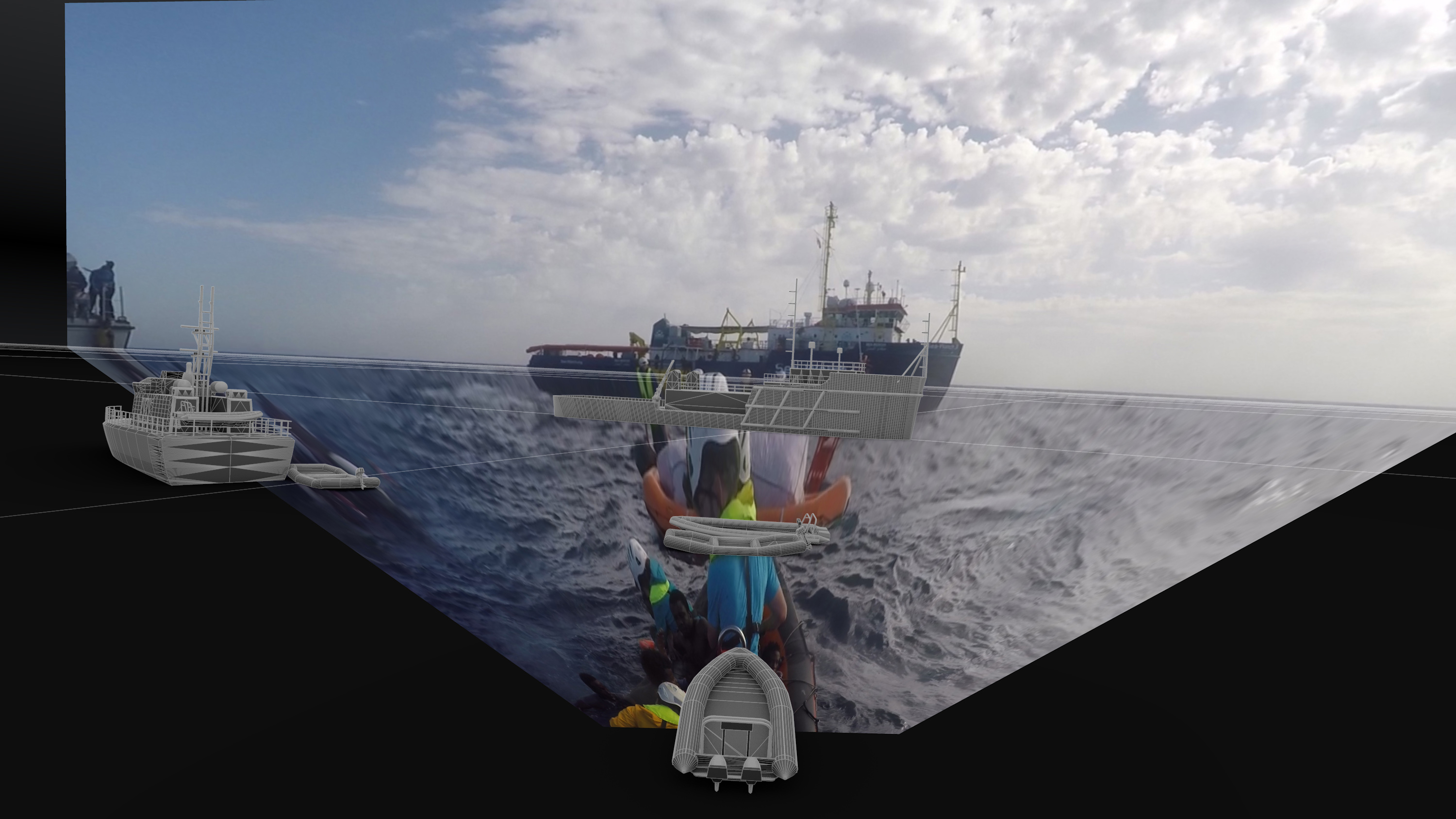 Forensic Oceanography and Forensic Architecture, Film Still 1, 28 min, © Mare Clausum – The Sea Watch vs Libyan Coast Guard Case, 2018, 28 min, Image: Forensic Oceanography and Forensic Architecture, 2018