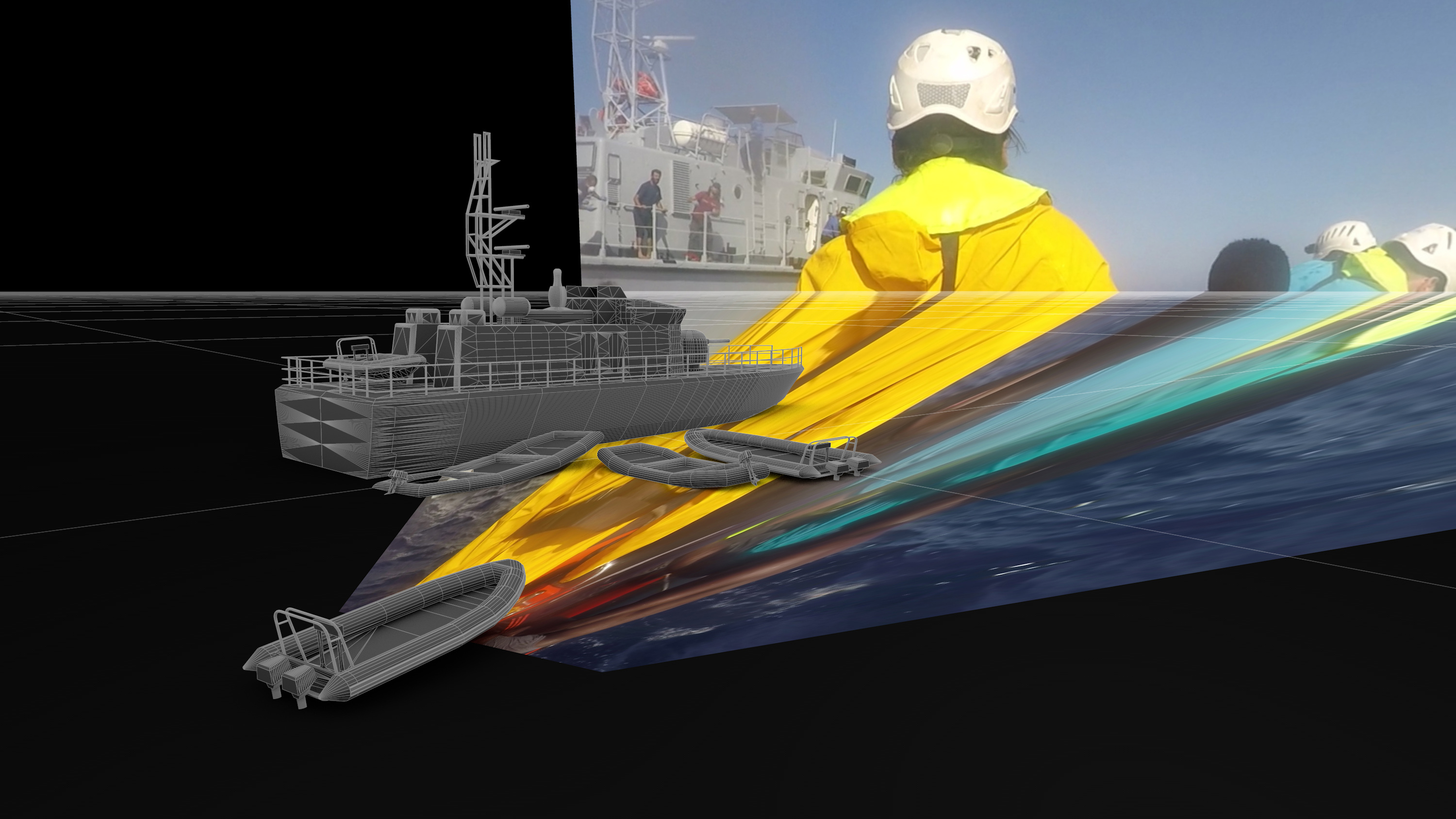 Forensic Oceanography and Forensic Architecture, Film Still 2, 28 min, © Mare Clausum – The Sea Watch vs Libyan Coast Guard Case, 2018, 28 min, Image: Forensic Oceanography and Forensic Architecture, 2018