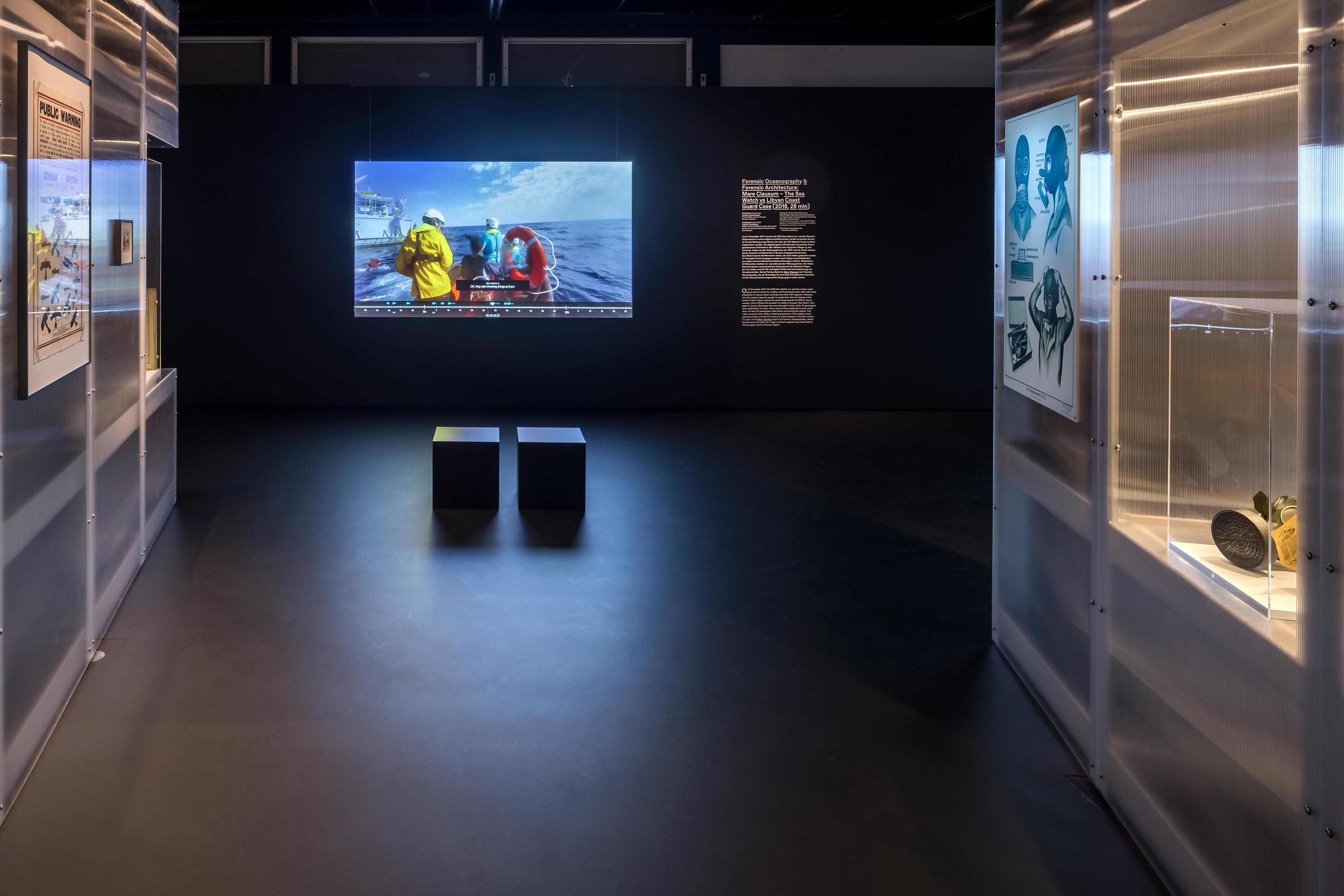 Ausstellungsansicht Beyond States 2021, Forensic Oceonographie, Zeppelin Museum, © Foto Tretter