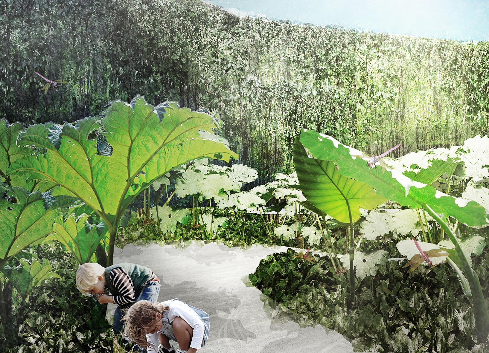 Rendering, H.C.Andersen Haven The Giant garden © Kengo Kuma & Associates