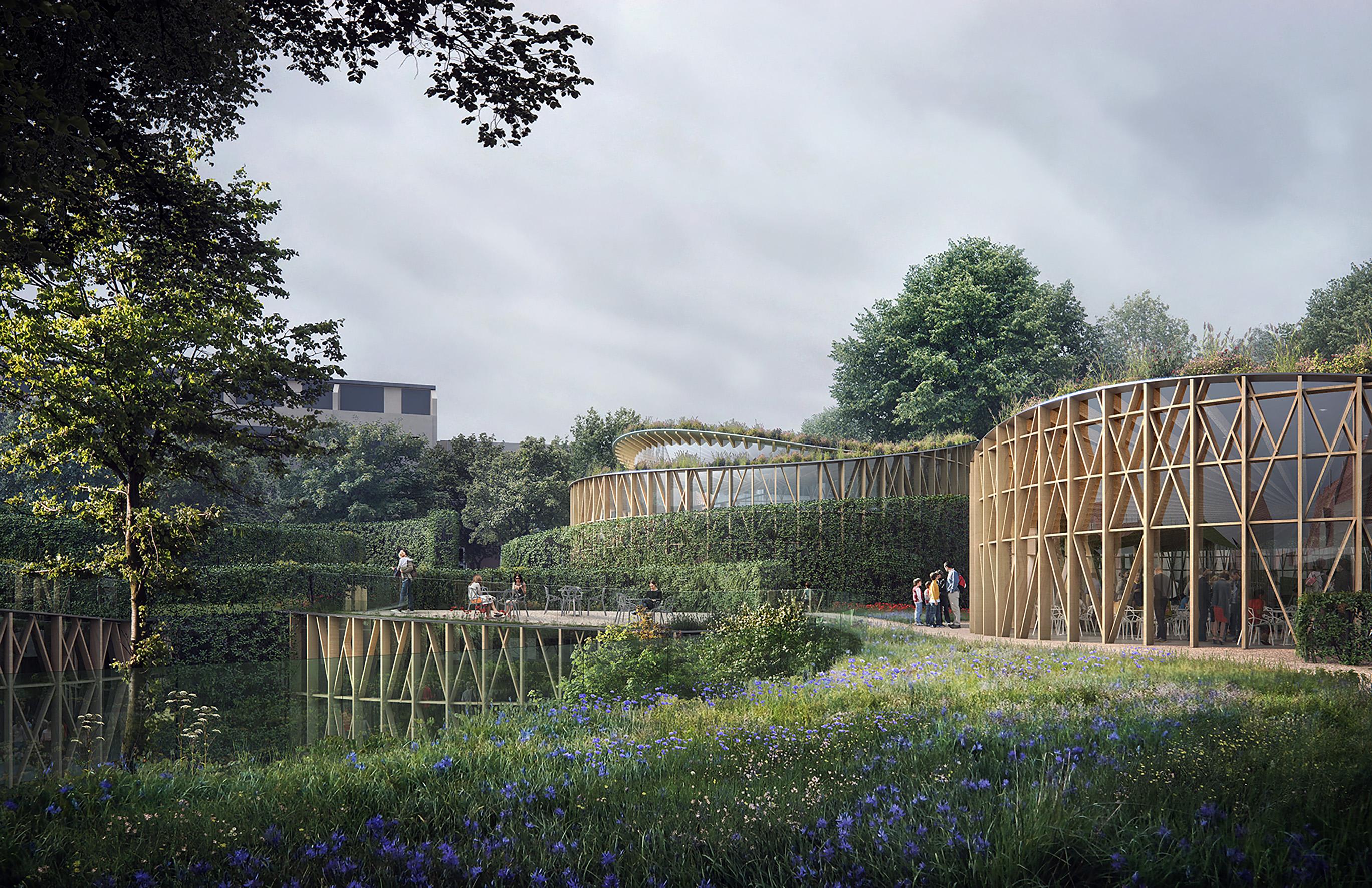 Rendering, H.C.Andersen Haven Hedges envelop buildings © Kengo Kuma & Associates, Cornelius Vöge, MASU Planning