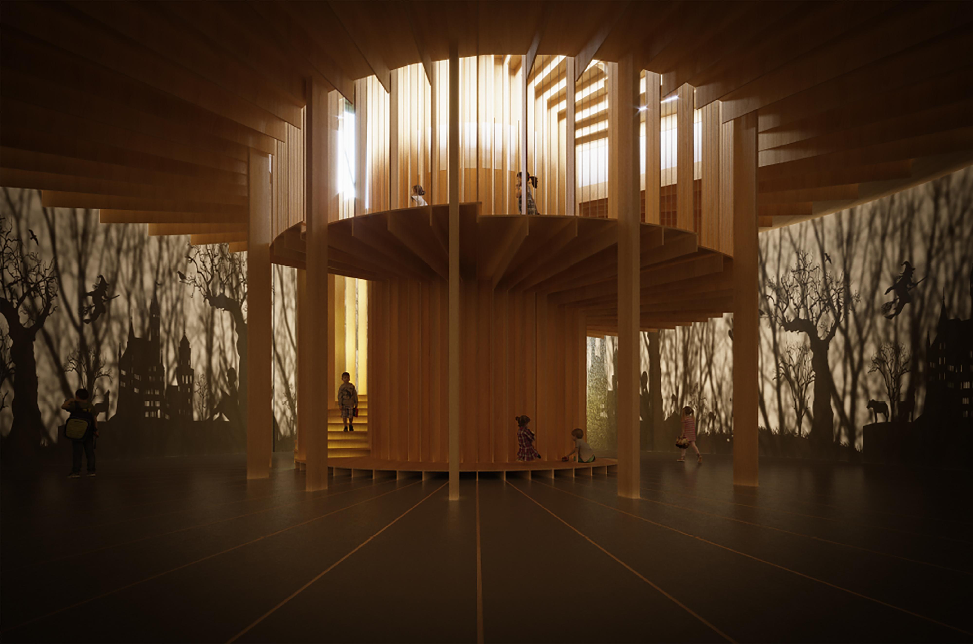 Rendering, H.C.Andersen Haven Light ingress © Kengo Kuma & Associates