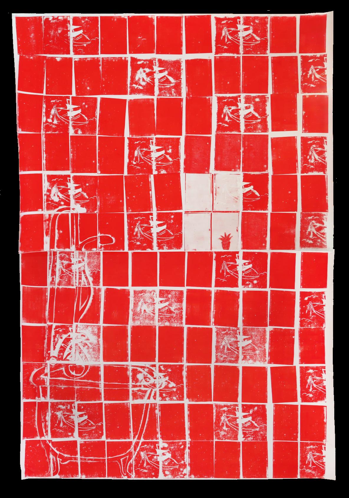Anna Slobodnik o.T., Zyklus Fliesen, 2019, Linoldruck und Collage auf Papier, 260 x 180 cm, Courtesy: Anna Slobodnik