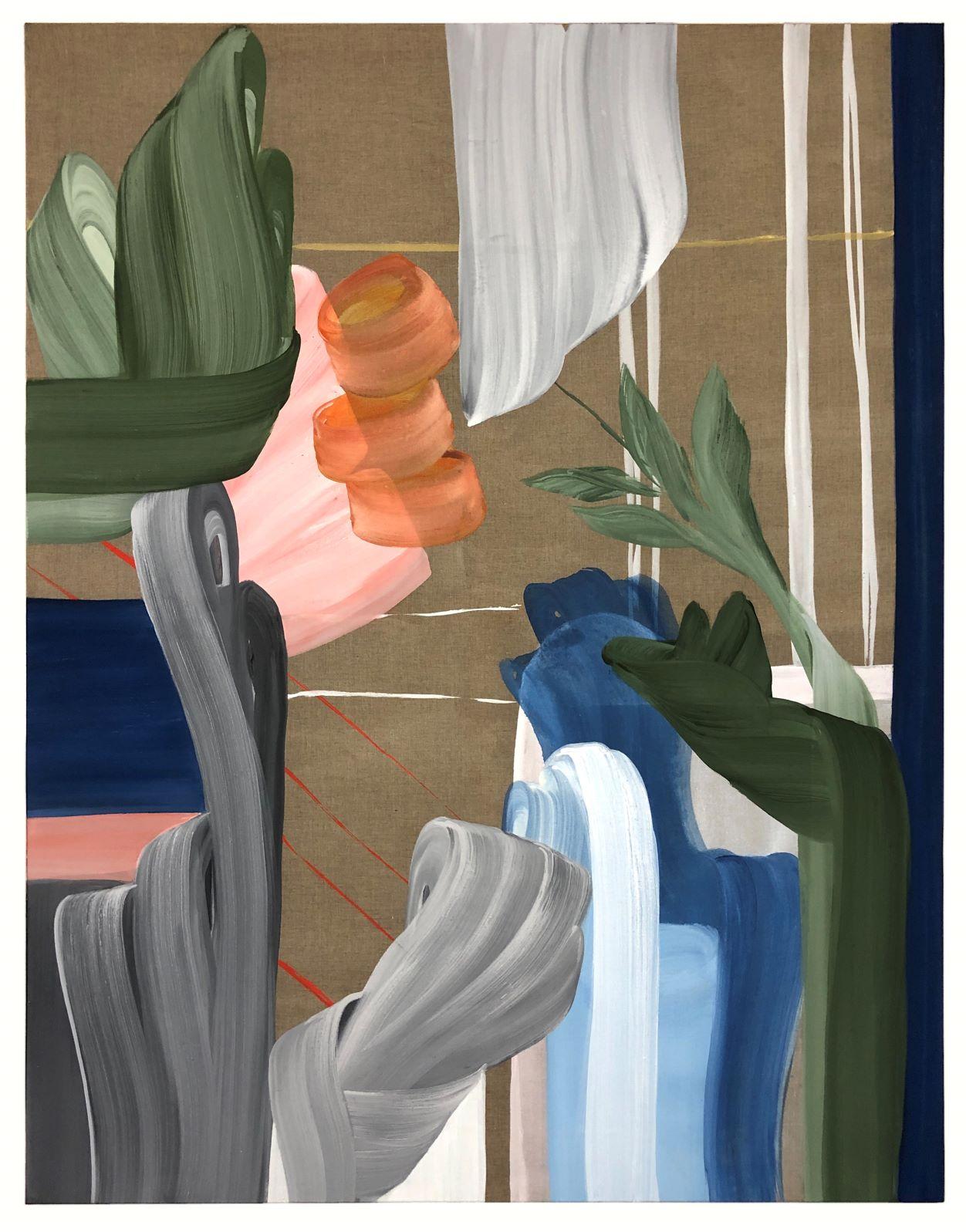 Mojé Assefjah, Golden Line, 2021, Eitempera auf Leinen, 180 x 140 cm, Courtesy: Mojé Assefjah und Galerie Tanit