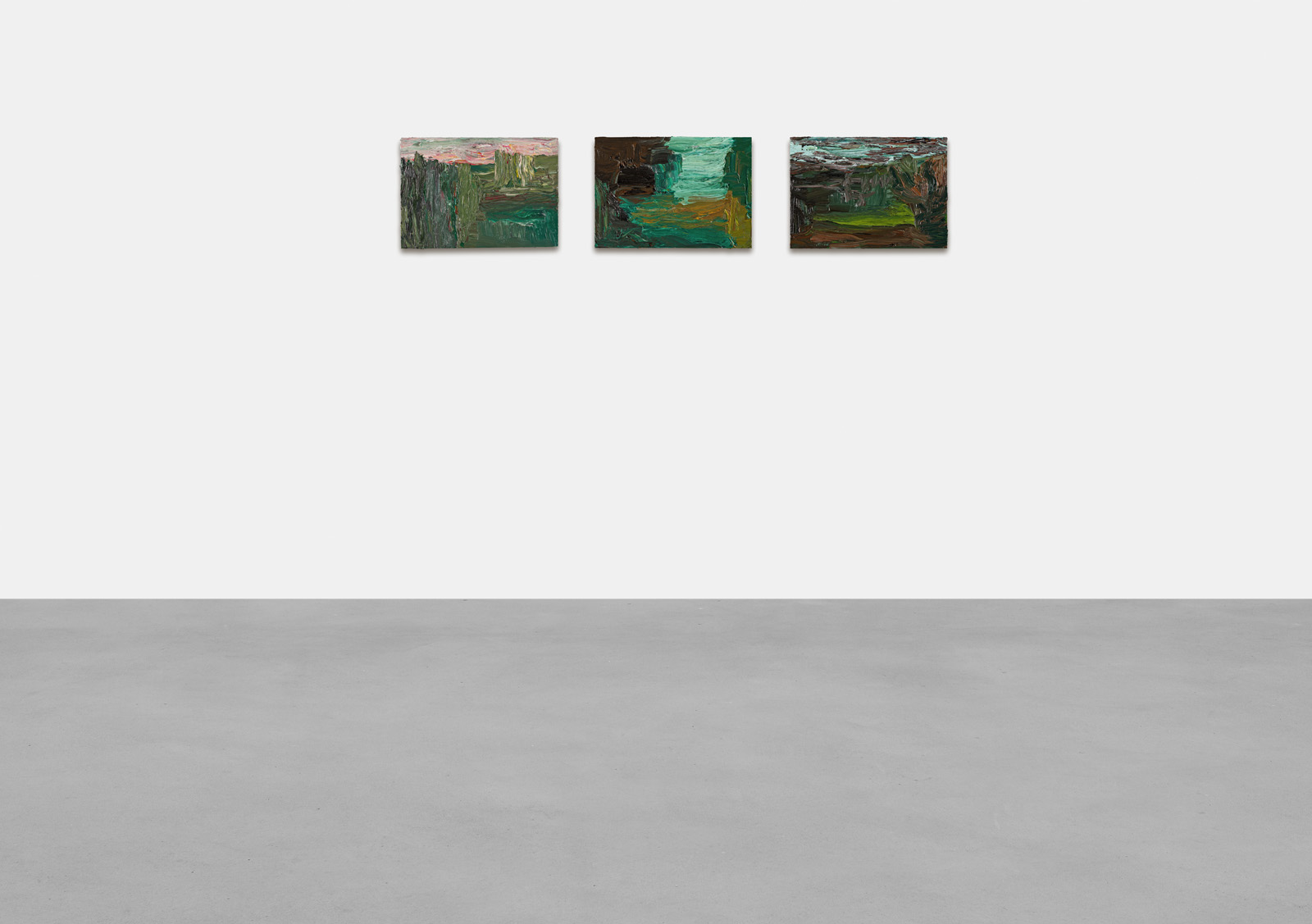 Cabrita works from 'Landscapes 2020 (series II)', 2020 Oil on plywood each 23 x 33 cm | 9 x 13 in Photo: Lepkowski Studios Berlin © the artist and KEWENIG Berlin