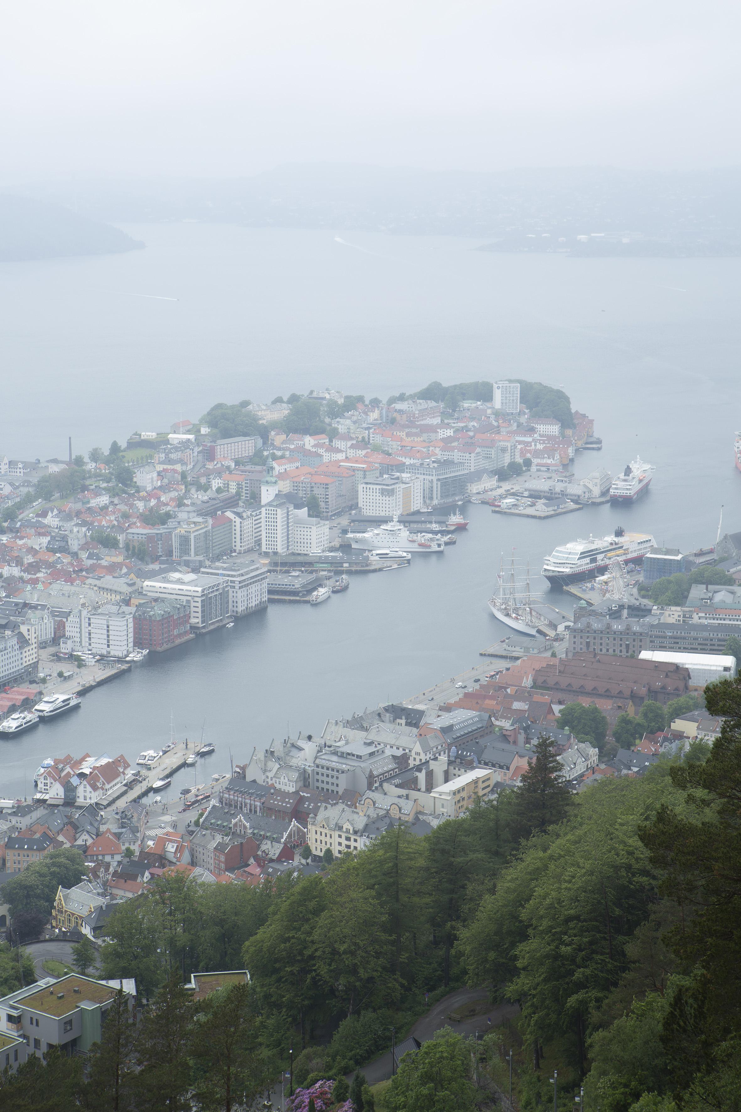 Stadtzentrum von Bergen vom Berg Fløyen aus gesehen. Foto: Giulia Mangione