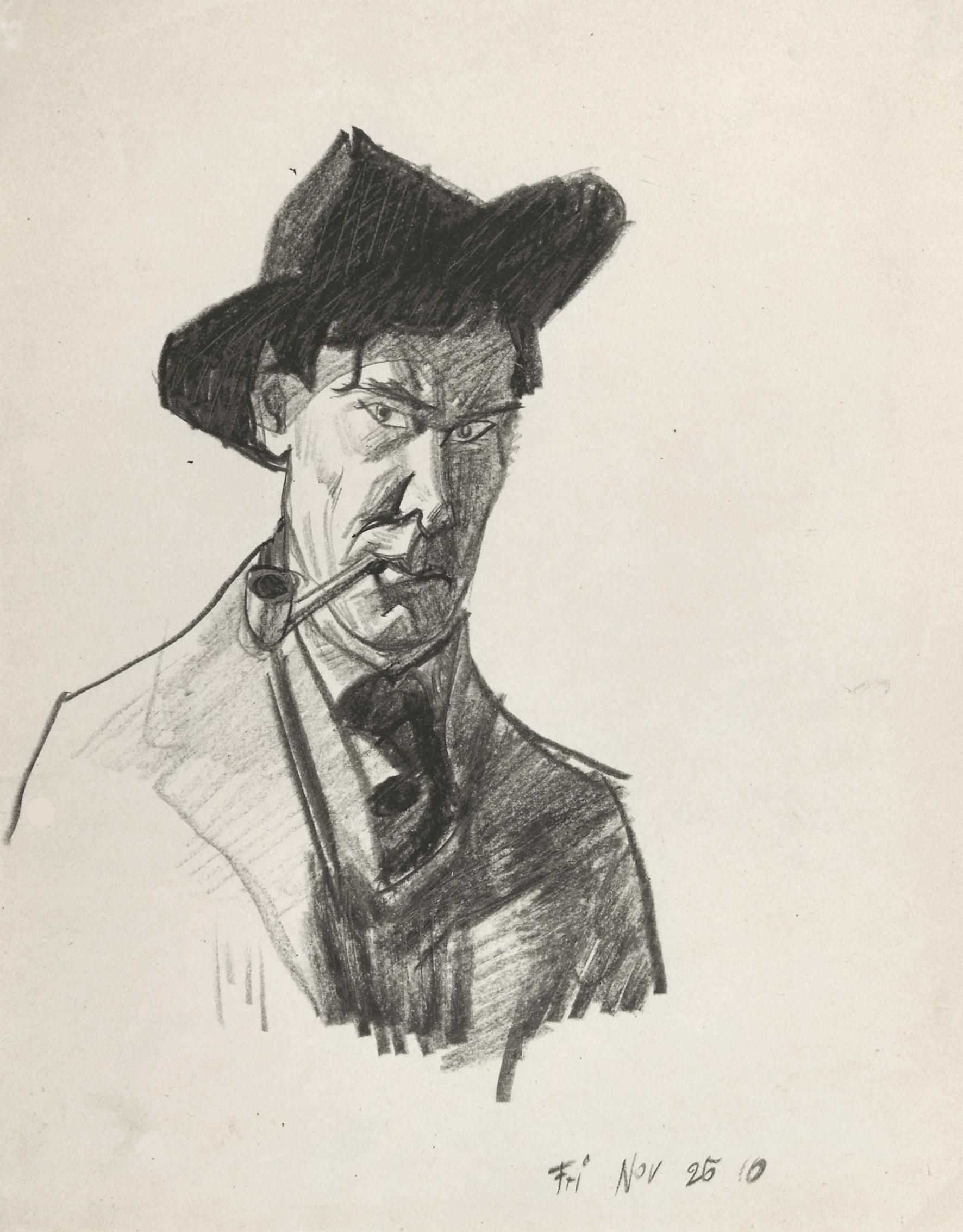 Lyonel Feininger, (Selbstbildnis), 1910, Kohle auf Papier, 27,9 x 22,2 cm, Achim Moeller, New York © VG Bildkunst Bonn