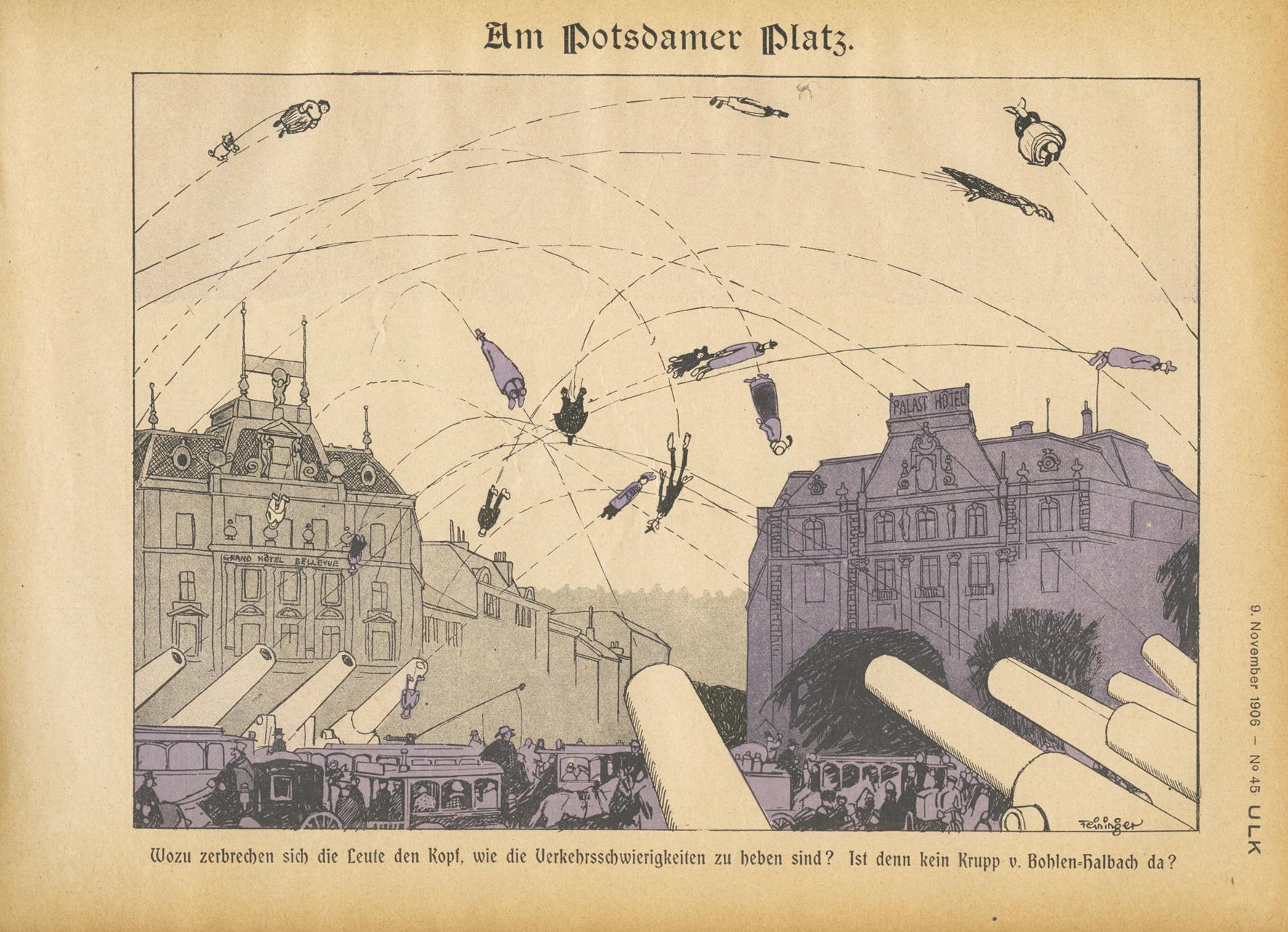 Lyonel Feininger, Am Potsdamer Platz, 1906, Zeitungsdruck, 22,5 x 30 cm, in: Ulk, 15. Jg., 9. November 1906, Nr. 45, S. 3, Privatsammlung © VG Bildkunst Bonn