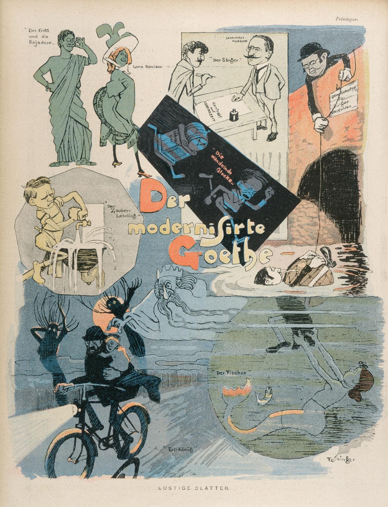 Lyonel Feininger. Der modernisierte Goethe, 1899. Zeitungsdruck, 31 x 24 cm, in: Lustige Blätter, XIV. Jg., 1899, Nr. 35, S. 10, Privatsammlung © VG Bildkunst Bonn