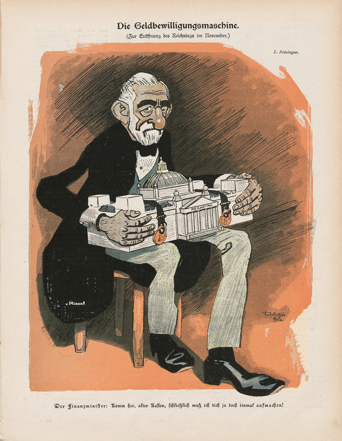 Lyonel Feininger, Die Geldbewilligungsmaschine, 1900, Zeitungsdruck, 31 x 24 cm, in: Lustige Blätter, XV. Jg., 1900, Nr. 45, S. 7, Sammlung Roland März © VG Bildkunst Bonn
