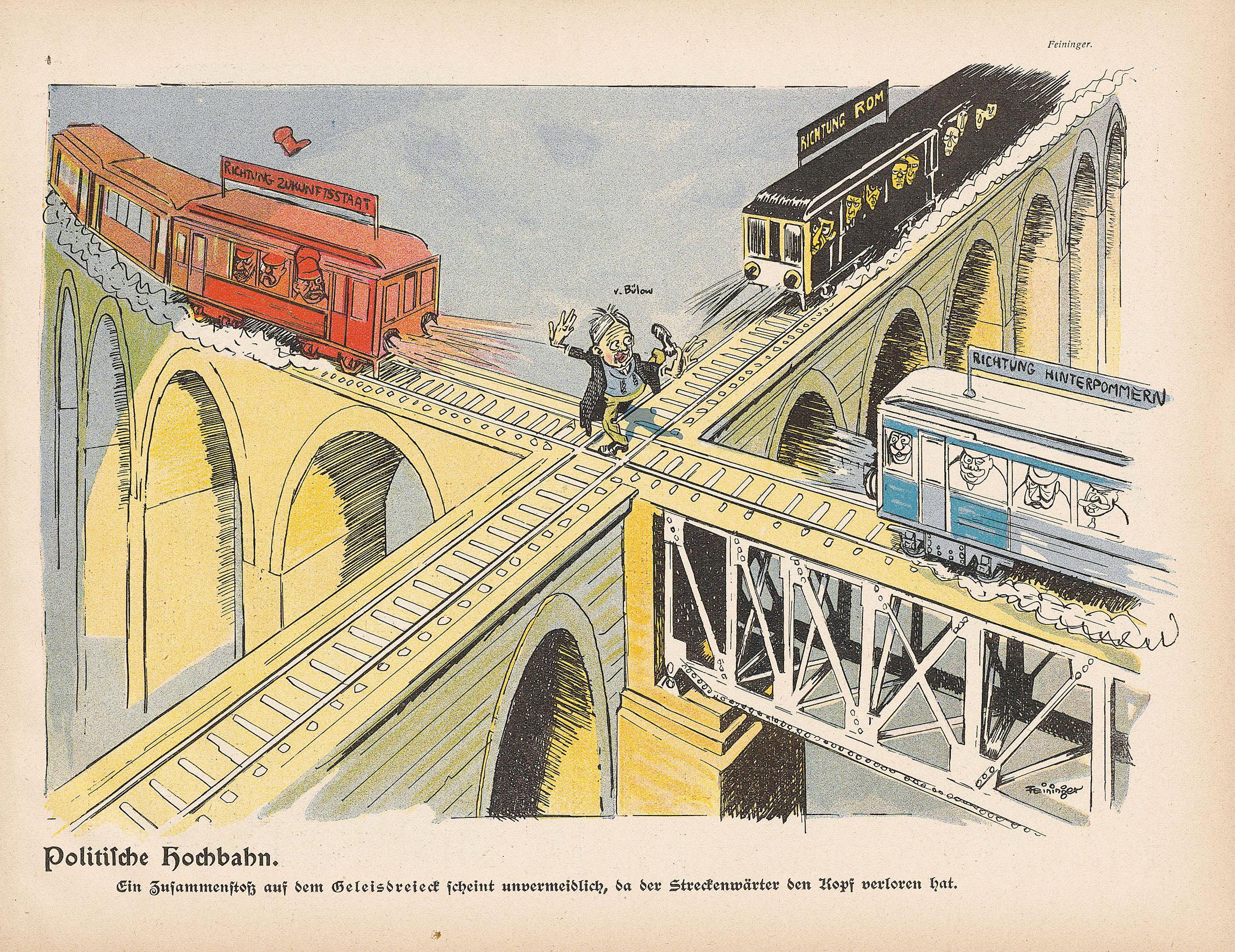 Lyonel Feininger, Politische Hochbahn, 1903, Zeitungsdruck, 31 x 24 cm, in: Lustige Blätter, XVIII. Jg., 1903, Nr. 51, S. 7, Sammlung Roland März © VG Bildkunst Bonn