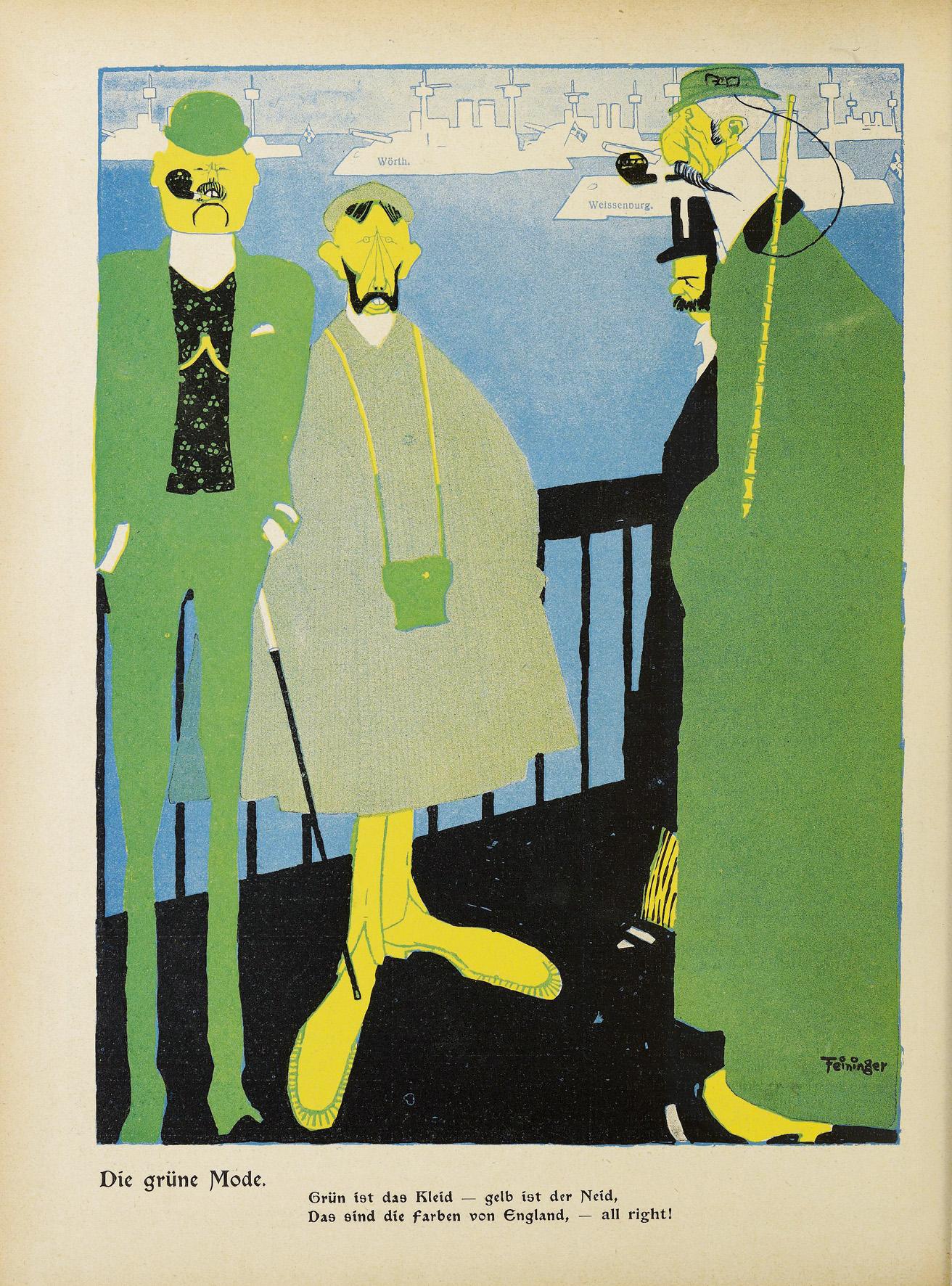 Lyonel Feininger, Die grüne Mode, 1905, Zeitungsdruck, 31 x 24 cm, in: Lustige Blätter, XX. Jg., 1905, Nr. 20, S. 12, Sammlung Roland März © VG Bildkunst Bonn